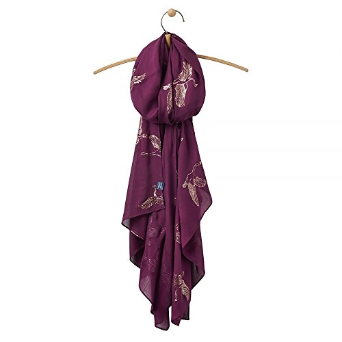 Joules Womens/Ladies Orna Foil Printed Light Fashion Scarf Burgundy Swans