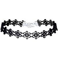 Tpocean - Gargantilla de piel negra para mujer, diseño de margaritas, collar de tatuaje
