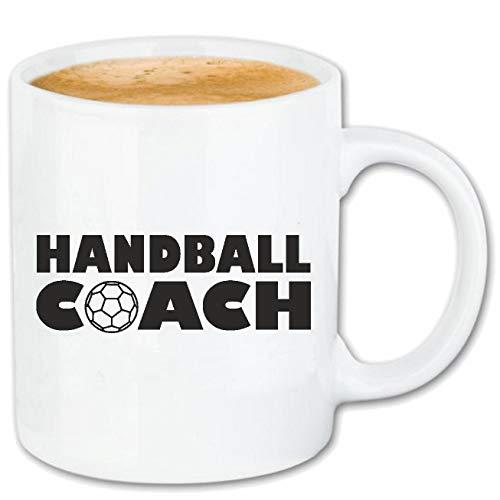 Reifen-Markt Kaffeetasse HANDBALL COACH - HANDBALLTURNIER - HANDBALL SPIELER - HANDBALLVEREIN - HANDBALL TRAINER Keramik 330 ml in Weiß