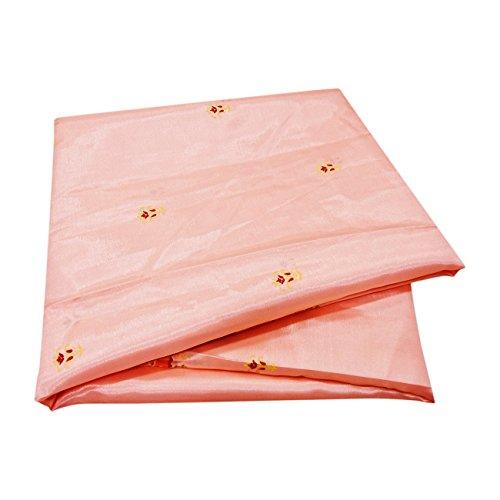 PEEGLI Frauen Jahrgang Gedruckt Sari Pfirsich Satin Seide DIY Recycling Vorhang Drapieren Stoff Indischen Saree (Sari Recycling)