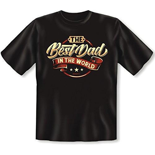 Fun T-Shirt - Witziges Geschenk zum Vatertag oder Geburtstag - The Best Dad in the Word - SET mit gratis Urkunde Schwarz