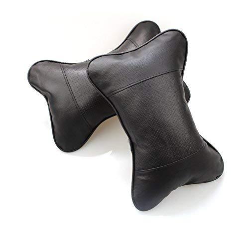 FGF Nackenkissen für den Autositz, Kopfkissen. weich, Kunstleder aus Polyurethan (PU), Kissen für Kopfstütze, 2 Stück schwarz Schwarz  -