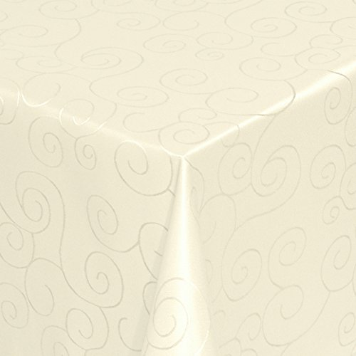 Tischdecke Stoff Damast Ornamente Jacquard Ranken Design mit Saum eckig 130x220 cm Creme - Sonderposten