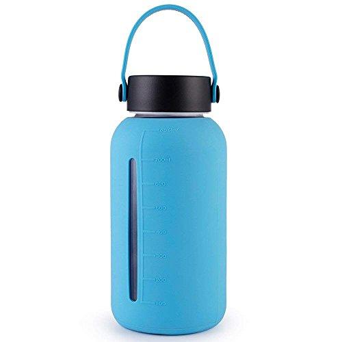 MIU COLOR Glasflasche, tragbare Trinkflasche aus Glas, 900ml Wasserflasche mit Silikonhülle, BPA-frei
