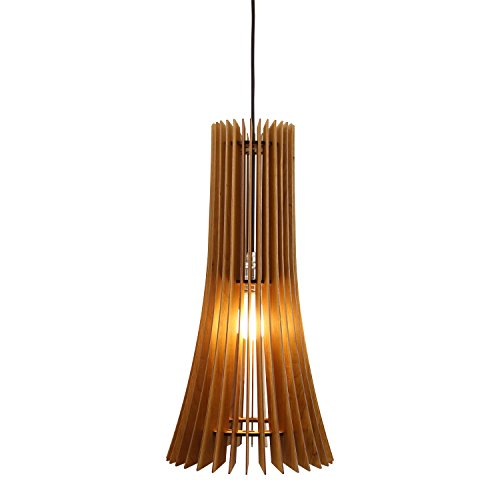 wodewa Pendelleuchte Holz I Moderne Holzlampe Primus 100% Kirschholz I Deckenlampe Deckenleuchte höhenverstellbar LED E27 I Größe L -