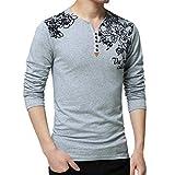Xmiral Herren Tops Bluse Lässiger Druck Langarm V-Ausschnitt Button T-Shirt Schulter Drucken Gut aussehend(L,Grau)