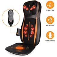 Shiatsu Back Massager with Heat, Back and Neck Massager with 12 Rolling Nodes, 3D Kneading & Deep Tissue and Vibration Massage Seat Cushion for Pinpoint Neck Back and Buttocks Fatigue Relief