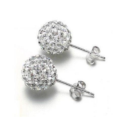 Un paio - A Pair 8MM Classic Crystal Disco Ball Orecchini EarRing Anello Ear Stud