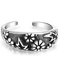 Bling Jewelry plata oxidada Hoja Flor MIDI Ring anillos de dedo de pie ajustable