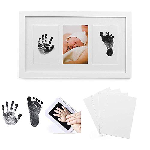 Baby Handabdruck und Fußabdruck Fotoalbum Bilderrahmen Set in weiß, Besonderes Geschenk zur Geburt für Neugeborene, Babyhaut kommt nicht mit Farbe in Berührung,Baby Foto Andenken(Versions-Upgrade)