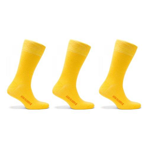 VON FLOERKE Drei Paar Set Handgekettelte Socken Business Strümpfe – gelb aus 100% ägyptischer Baumwolle (Set Ägyptische)
