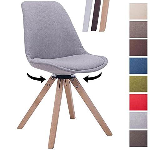 CLP Design Retro-Stuhl TROYES SQUARE, Stoff-Sitz gepolstert, drehbar Grau, Holzgestell Farbe natura, Bein-Form eckig