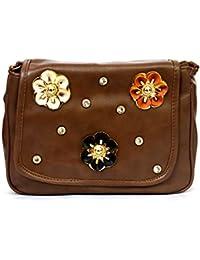 RISH® Dark Brown Colour Floral Patterned Sling Bag For Women