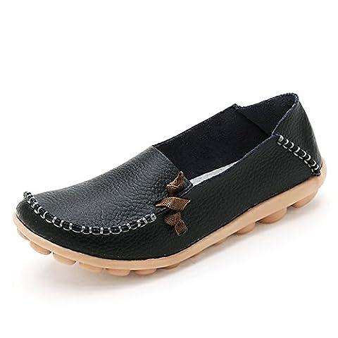 IFashion Damen Leder Mokassin Bootsschuhe Slip on Loafers Slipper Flats Low-top Erbsens Chuhe Schwarz 39.5