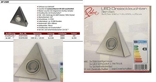 Rolux Hochwertiges 4er Set LED Dreieckleuchte - Küchenleuchte 2,5W warmweiss mit Zentralschalter und Trafo