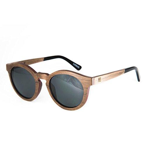 WOLA Damen Sonnenbrille Holz BAUM Brille rund Vollholz und Acetat polarisiert UV400 Nussholz Linse...