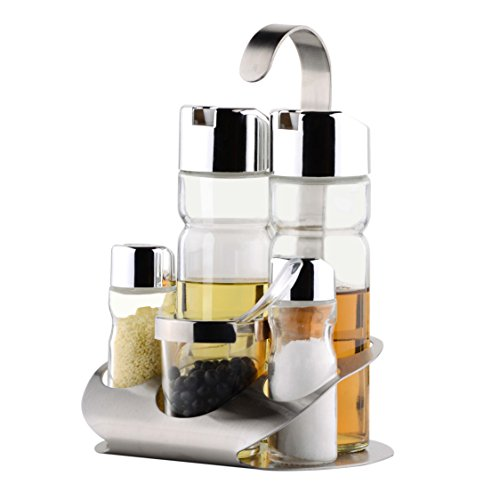 OKOMATCH - Soporte para especias (acero inoxidable, con 5 botellas de cristal vacías, incluye dispensador de aceite de oliva/vinagre, cucharada/salero y pimentero pequeño)