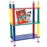 Kinderregal Bleistift | Regal MDF Massivholz | Spielzeugregal mit drei Regalböden | Bücherregal in Stiftoptik 69,5 cm hoch | Holzregal Kinderzimmer multicolor | Kinderzimmerregal + Malbuch und Stifte