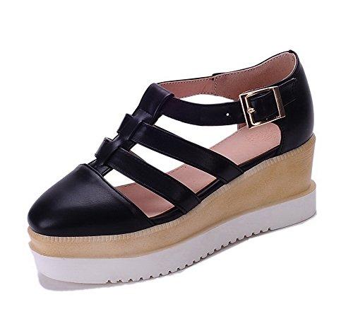 AgooLar Femme Couleur Unie Pu Cuir à Talon Correct Carré Boucle Chaussures Légeres Noir