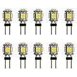 10x Stück - G4 LED mit 5 SMD 1 Watt WARMWEIß 12V DC Gleichspannung Stiftsockel 330° Leuchtmittel GU4 Lampensockel Spot Halogenersatz Lampe