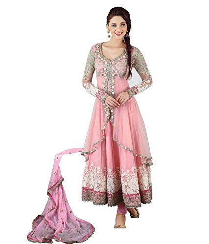 Sanjana Design Women\'s Pink Net Unstitch Anarkali Suit (SD2995_Free Size_Pink)
