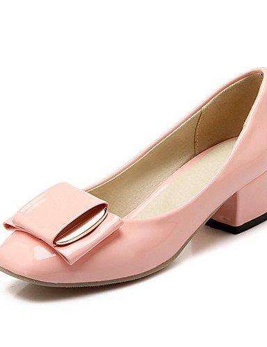 WSS 2016 Chaussures Femme-Mariage / Habillé / Décontracté / Soirée & Evénement-Noir / Rose / Blanc / Gris-Gros Talon-Talons-Talons-Cuir Verni gray-us7.5 / eu38 / uk5.5 / cn38
