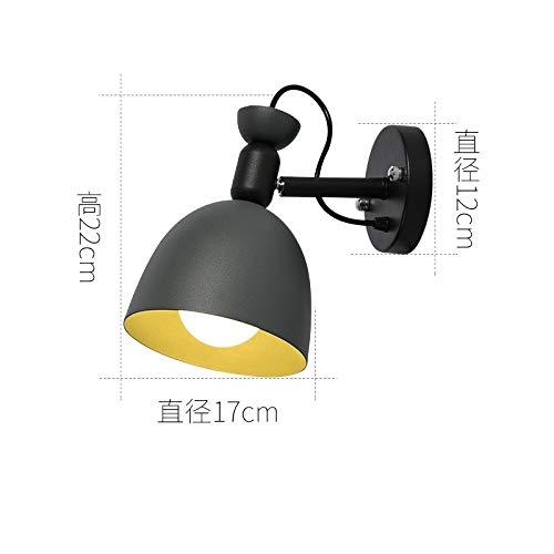 Lámpara de pared D base gris + pantalla gris con bombilla LED monocromática de 9 vatios de luz blanca