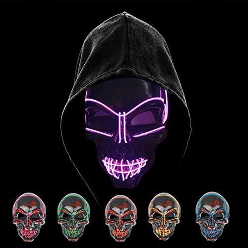 """""""KiraKira purge led mask máscara de halloween led accesorios de halloween máscara de halloween de miedo Terrible disfraz para Halloween Cosplay Carnaval Fiestas (Conjunto de 5: rojo, amarillo, azul, verde, púrpura) ¡La expresión vacía con el efecto l..."""