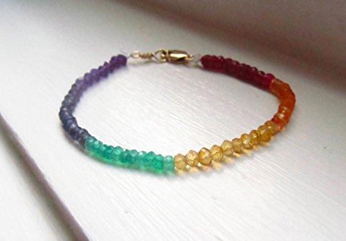 Stolz Regenbogen-Armband Chakra mit Granat Citrin Saphir Onyx Iolith Amethyst, 3-5mm