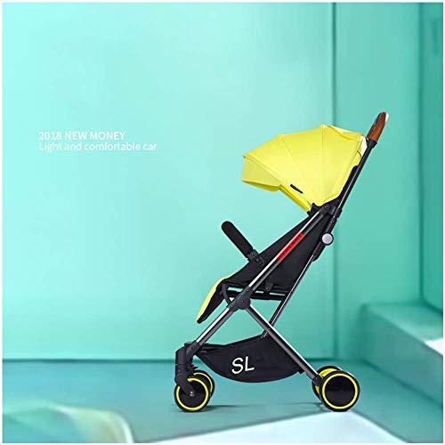 Cochecitos de bebé Los carros ligeros para recién nacidos se sientan tumbados 2 en 1 Cochecitos plegables para niños Carrito portátil para viaje, 45 x 60 x 105 cm (color : Amarillo)