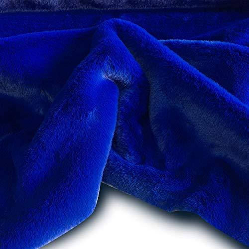 Tessuto eco pelliccia peluche per abbigliamento - a metraggio a partire da 50 cm di lunghezza x 155 cm di larghezza fissa (1/2 metro, blu elettrico)