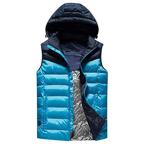 Chaleco Calefactado con Sombrero, Chaleco Calefactado, 3 Temperaturas Opcionales, Carga De Calentamiento USB, Adecuado para Hombres, Mujeres,Azul,XXXXXL