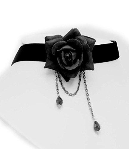 Fiore Rosa Black Velvet cuoio sexy banda del collare del Choker di goccia dell'acqua della collana di nappa per le donne