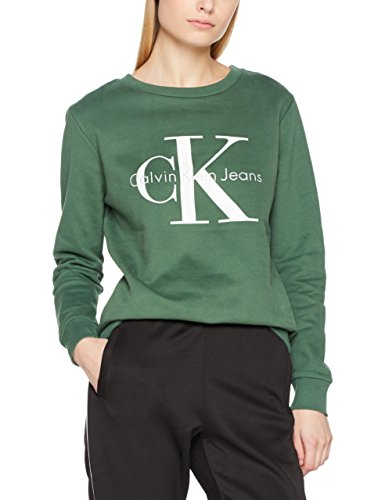 Calvin Klein Jeans Damen Sweatshirt Crew Neck Hwk True Icon, Grün (Trekking Green 347), X-Large (Sweatshirt Crew Icon)