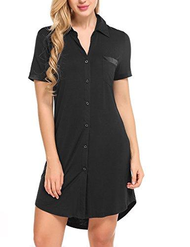 Avidlove Damen Viktorianisch Nachthemd T-shirt Luxus Nachtwäsche- Gr. XXL, Kurzarm 1: Schwarz -