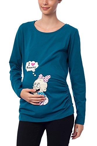 I Love Mommy - Witzige süße Umstandsmode T-Shirt mit Motiv Schwangerschaft, Langarm (M, Petrol)