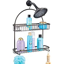 etc F/ácil de colgar Accesorios ducha Para sus productos de higiene como champ/ú acondicionador jab/ón mDesign Estanter/ía ducha sin taladro - Bronce//madera rosada