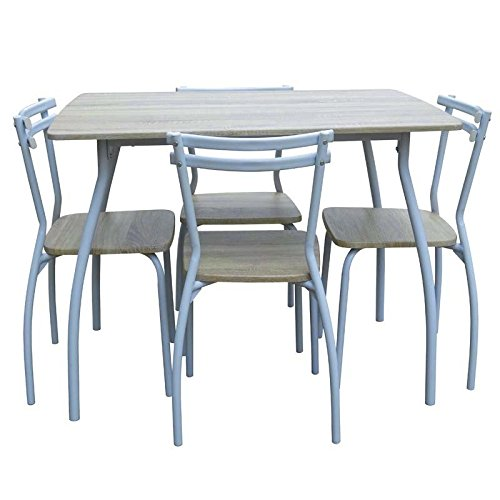 Abitti Conjunto de Mesa + 4 sillas para Comedor o Salon Color Blanco y Taupe, Resistente Estructura metálica