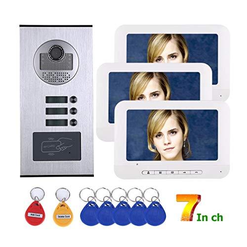 WJ Videotelefon-Gegensprechanlage-Türklingel, 7 Zoll Verdrahtetes WiFi Zweiweggespräch 3 Wohnung/Familie RFID IR-Cut HD-Kamerasystem-Kit Mit 3-Tasten-3-Monitor