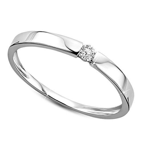 Orovi Damen Verlobungsring Gold Solitärring Diamantring 9 Karat (375) Brillianten 0.05crt Weißgold Ring mit Diamanten