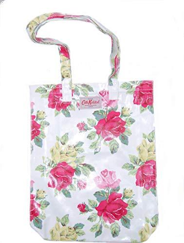 Cath Kidston Book Bag große Henkeltasche Beschichtete Baumwolle Royal Rose White weiß mit großen pink Rosen 33 x 38 x 8 cm -