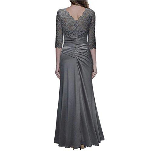 YOGLY Damen Damen Elegant Abendkleid Rundhals Schwarze Spitzen Brautjungfer  Cocktailkleid Vintage Cocktailkleid Langes Kleid Grau ...