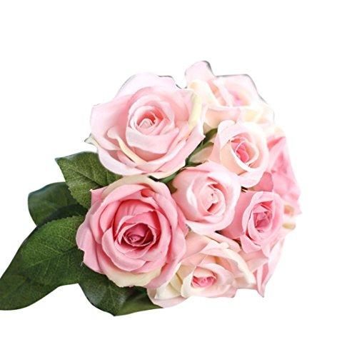 Flores Artificiales,Xinan 1x 9 Cabezas Flor de Seda Falso Hoja Rosa Planta (D)