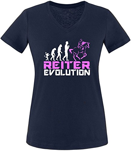 EZYshirt® Reiter Evolution Damen V-Neck T-Shirt Navy/Weiß/Rosa