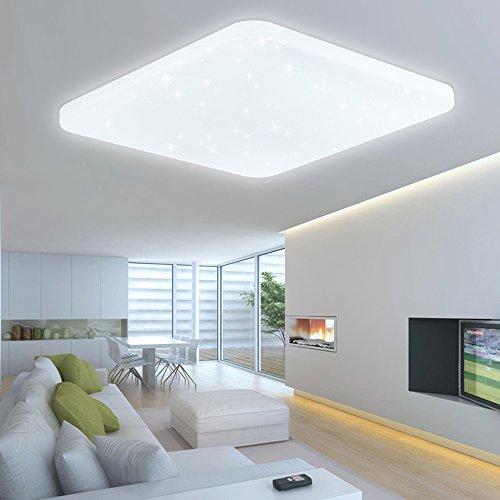 HG® 60W LED Deckenleuchte Deckenbeleuchtung Weiß Wandlampe eckig Deckenlampe Esszimmer Wohnraum Badlampe Sternenhimmel Panel Sternen Mordern Decken Energiespar Leuchtmittel Dekor EEK A++