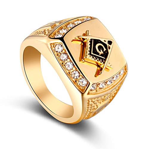 73JohnPol Anello con Sigillo Cristallo Personalizzato con Strass Oro Forma di Anello Dorato con Anelli per Uomo
