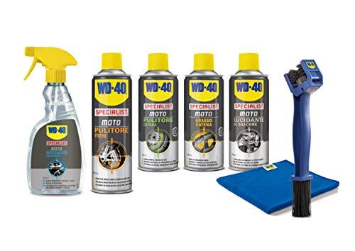 Wd-40 specialist moto - kit manutenzione moto con detergente 500 ml, grasso catena 400 ml, pulitore catena 400 ml, pulitore freni 500 ml, lucidante silicone 400 ml, spazzola, panno in microfibra