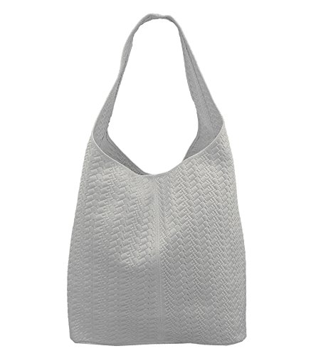 Freyday Damen Ledertasche Shopper Wildleder Handtasche Schultertasche Beuteltasche Metallic look (Weiß Geflochten)