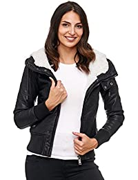 Red Bridge Damen Jacke | Hooded Jacket | Damenjacke | Übergangsjacke | Herbst | Winter | Kunst- Lederjacke | gefüttert mit Kapuze | Redbridge RBC By Cipo & Baxx