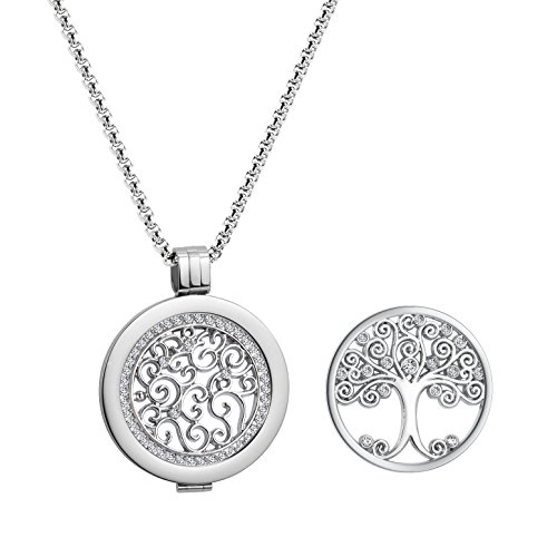 U&D Coins 33mm Edelstahl Anhänger Set Halskette Damen Lebensbaum